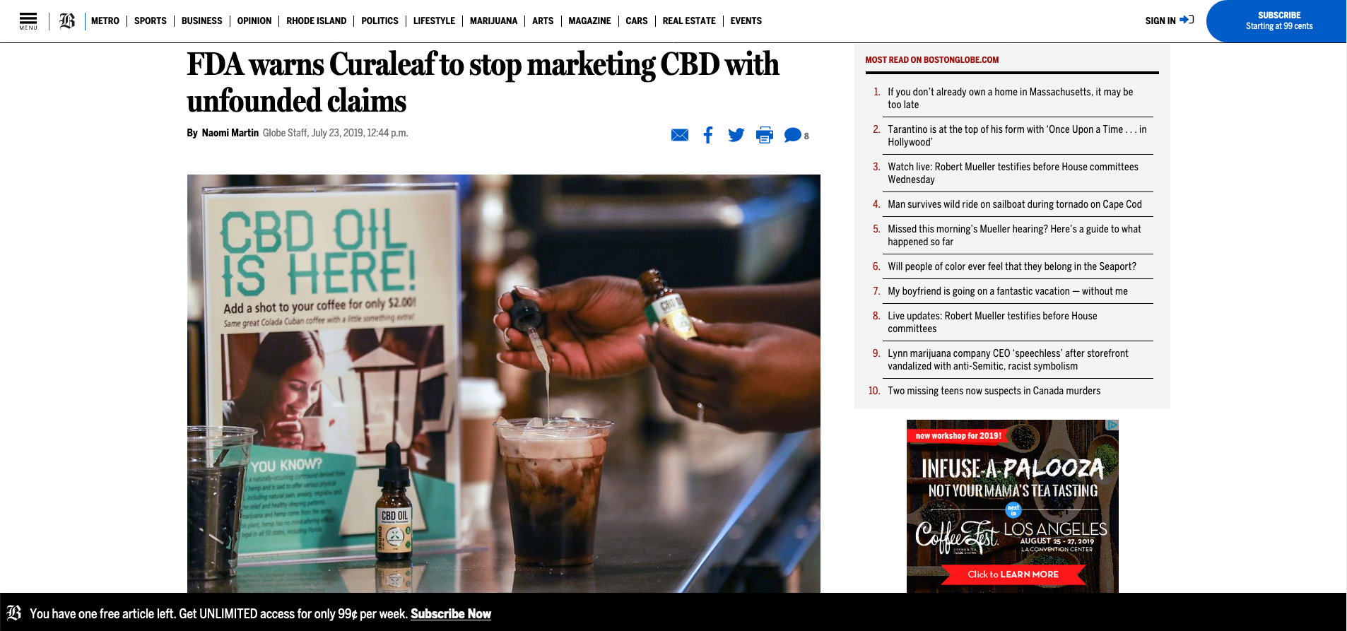 FDA warns Curaleaf to stop marketing CBD with unfounded